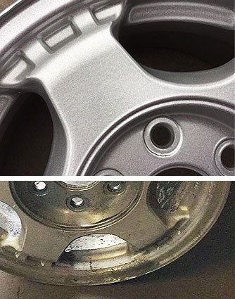 wheel rim powder coating before after